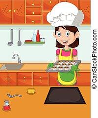 lindo, mamá, caricatura, cocinero, en, el, kitche