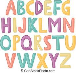 lindo, mano, dibujado, feliz, alfabeto