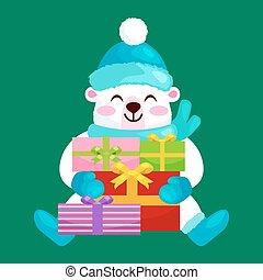 lindo, manoplas, botas, gifts., regocíjese, invierno, ositos de peluche, nuevo, sombrero, navidad, feliz, sentado, alegría, ilustración, vacaciones, tibio, bufandas, durante, eva, año, vector, ropa
