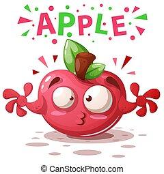 lindo, manzana, -, ilustración, characters., caricatura