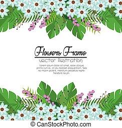 lindo, marco, flores, plano de fondo