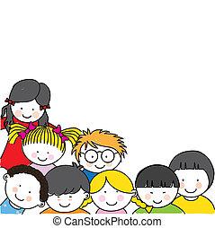 lindo, marco, niños, caricatura