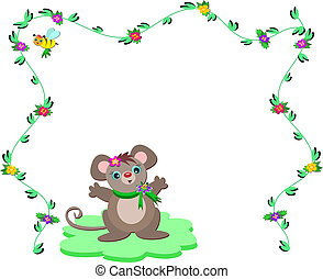 lindo, marco, ratón, naturaleza