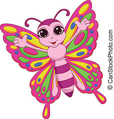 lindo, mariposa, caricatura