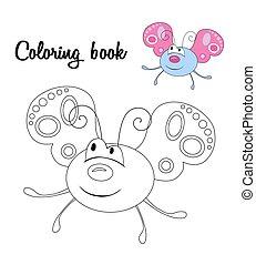lindo, mariposa, libro colorear