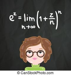 lindo, matemáticas, fórmula, niña, caricatura, elegante