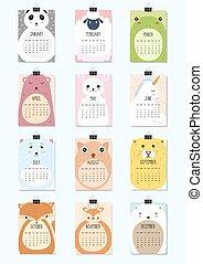 lindo, mensualmente, animals., a4, 2018., calendario