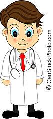 lindo, mirar, caricatura, ilustración, de, un, doctor