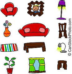 lindo, mobiliario, hogar