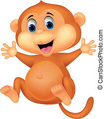 lindo, mono, caricatura