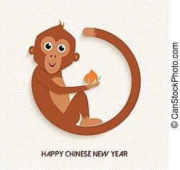 lindo, mono, chino, año, nuevo, 2016