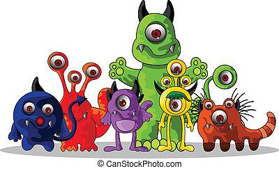 lindo, monstruos, caricatura