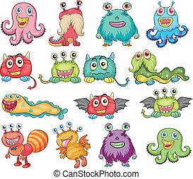 lindo, monstruos, colorido
