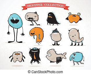 lindo, monstruos, conjunto, de, vector, ilustraciones