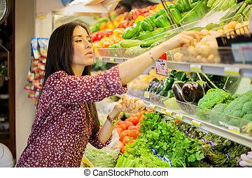 lindo, morena, algunos, compra, comestibles