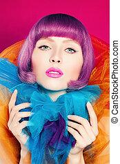 lindo, mujer, con, colorido, hair.colorful, moda, retrato