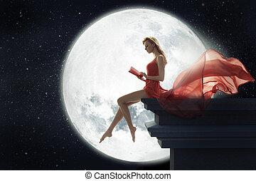lindo, mujer, encima, luna, lleno, plano de fondo