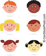 lindo, multicultural, niños, cabezas