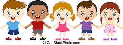 lindo, multicultural, niños