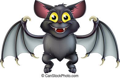 lindo, murciélago, halloween, caricatura
