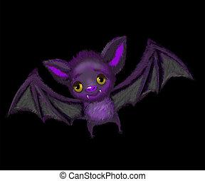 lindo, murciélago, vuelo, caricatura