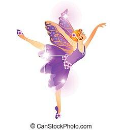 lindo, navidad, estatuilla, en, el, forma, de, un, bailando, bailarina, aislado, en, un, blanco, fondo., vector, caricatura, primer plano, illustration.