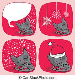 lindo, navidad, gatos, conjunto