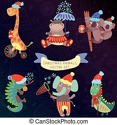lindo, navidad, juego de animal, con, animales salvajes, de, africa.iguana, jirafa, hipopótamo, elefante, cocodrilo, koala