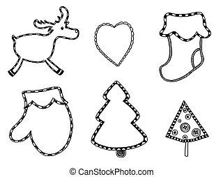 lindo, navidad, pegatinas, conjunto