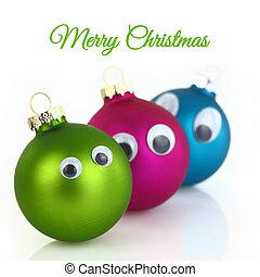 lindo, navidad, pelotas, con, ojos, aislado, blanco
