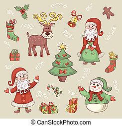 lindo, navidad, set.