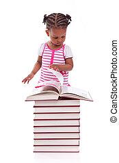 lindo, negro, americano africano, niña, leer un libro, aislado, blanco, plano de fondo, -, africano, gente, -, niños