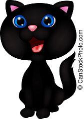 lindo, negro, caricatura, gato