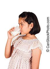 lindo, niña, bebida, leche