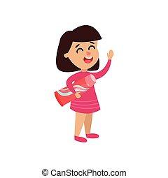 lindo, niña, carácter, tenencia, pasta dentífrica, caricatura, vector, ilustración