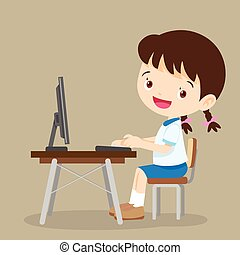 lindo, niña, computadora, estudiante, trabajando