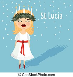 lindo, niña, con, guirnalda, y, vela, corona, santo, lucia.,...