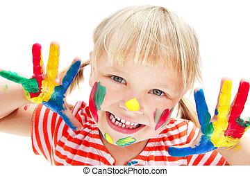 lindo, niña, con, pintado, manos