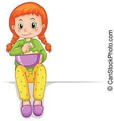lindo, niña, con, tazón de palomitas de maíz