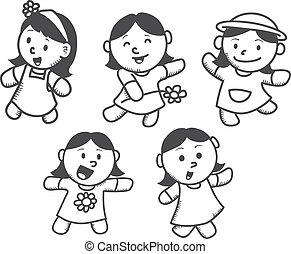 lindo, niña, conjunto, caricatura