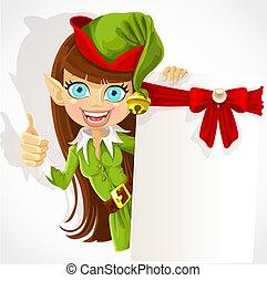 lindo, niña, duende, navidad