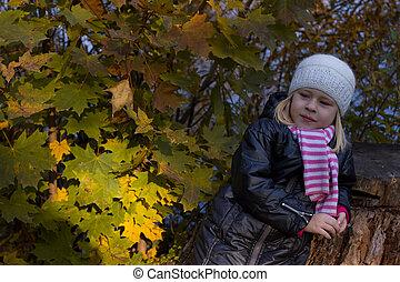lindo, niña, en, otoño, parque