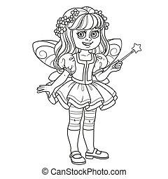 lindo, niña, en, traje de hada, con, un, varita mágica, contorneado, para, colorido, página
