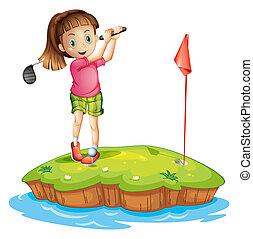 lindo, niña, golfing