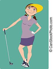 lindo, niña, golfista, caricatura