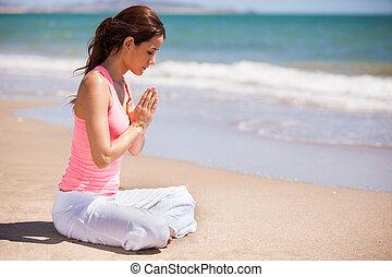 lindo, niña, hacer, algunos, meditación