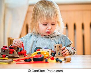 lindo, niña, juego, con, constructor