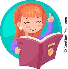 lindo, niña, mascota, carácter, libro de lectura, educación, caricatura, diseño, vector, ilustración