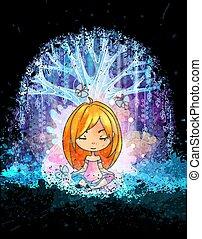 lindo, niña, meditar, delante de, magia, surreal, árbol., grunge, vector, illustration., trajes, para, cartel, o, cubierta de libro