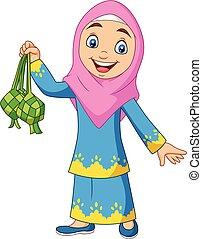 lindo, niña, musulmán, tenencia, ketupat